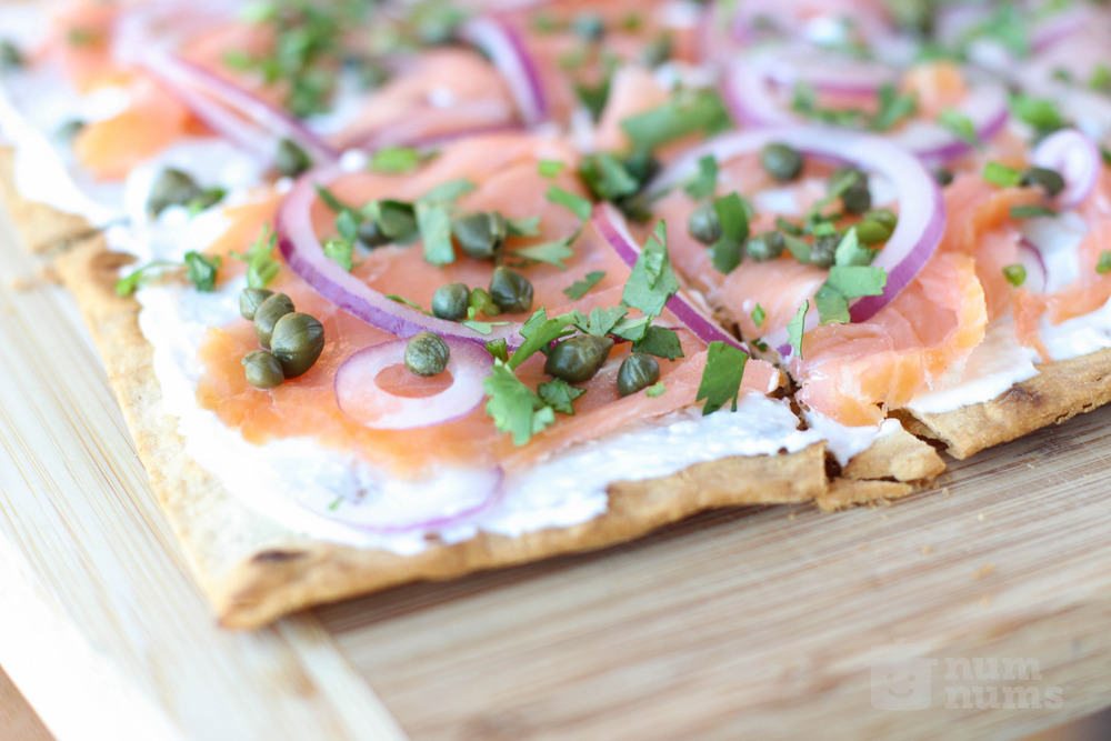 jacques pepin\'s smoked salmon lavash pizza