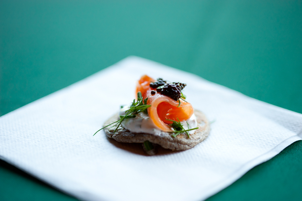 Buckwheat Blinis with Smoked Salmon, Caviar, and Crème Fraiche
