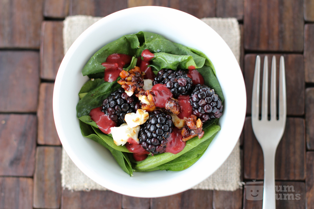 Blackberry Balsamic Vinaigrette and Candied Walnut Spinach Salad with Goat Cheese