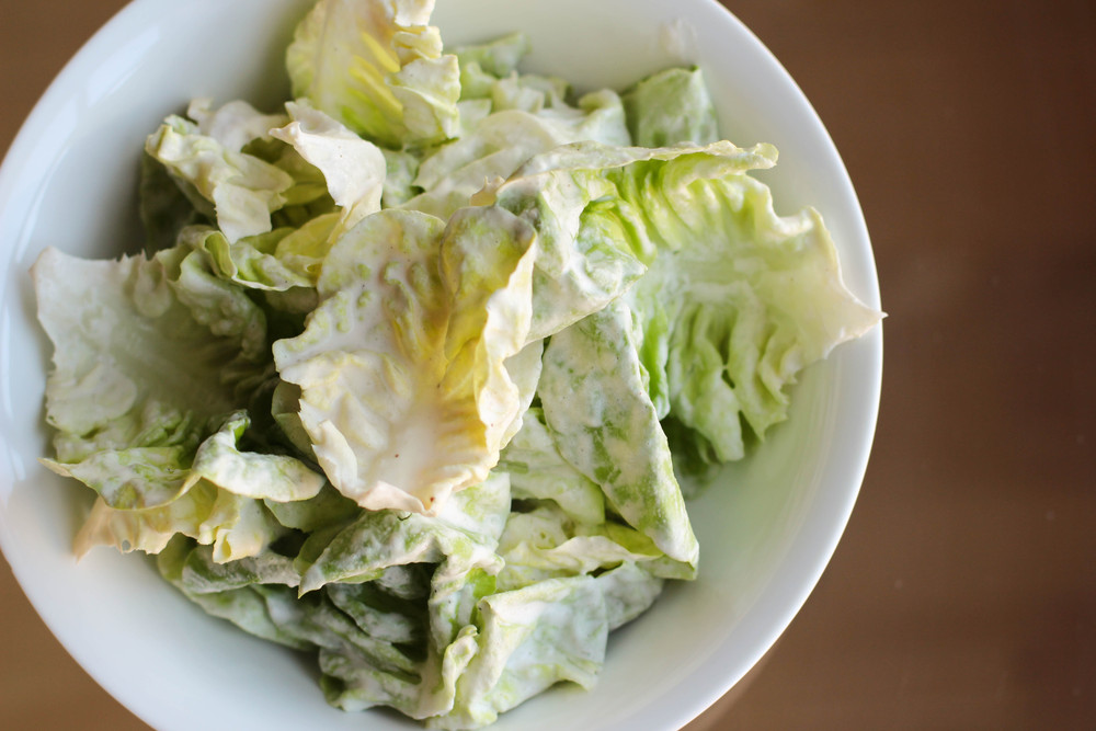 jacques pepin\'s greens with quick cream dressing