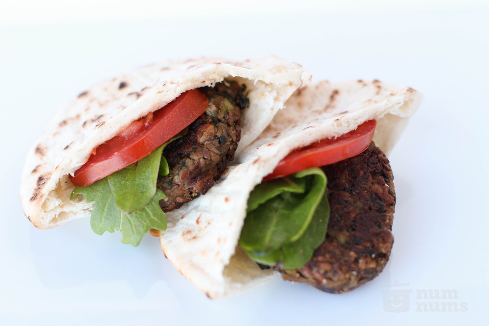 Chickpea Tahini Burgers on numnums.com