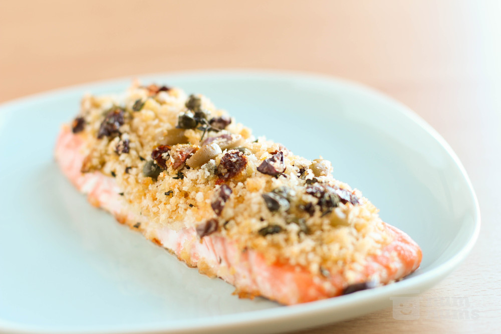 salmon with breadcrumb, olive, and sun-dried tomato crust