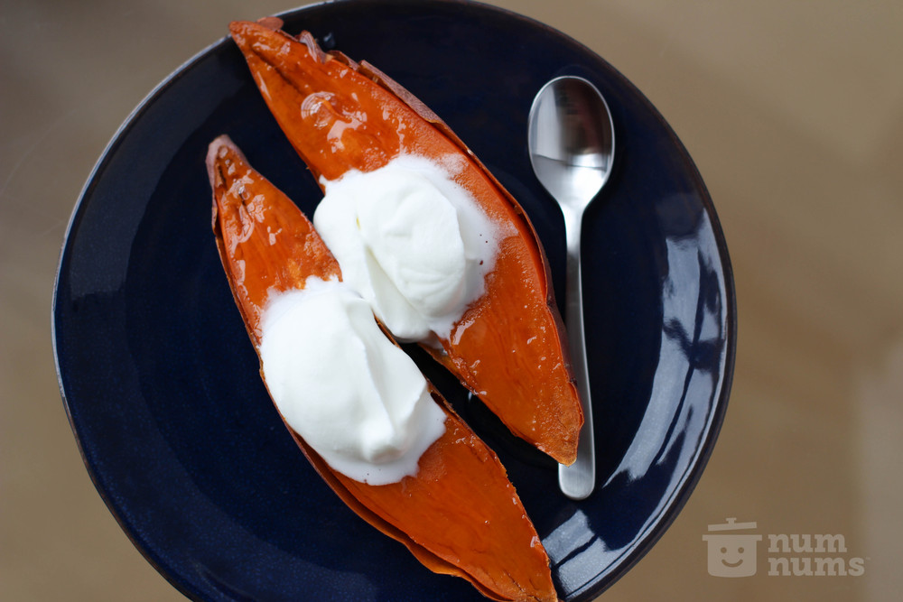 sweet potato with honey & cream