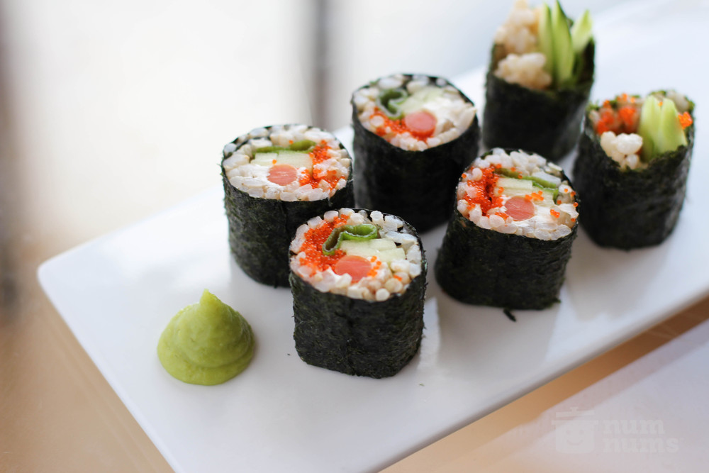 veggie sushi with pickled burdock